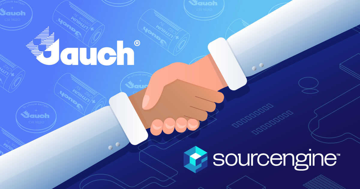 Hands shaking with the Jauch and Sourcengine logos on either side. Learn about Jauch Batteries on Sourcengine.