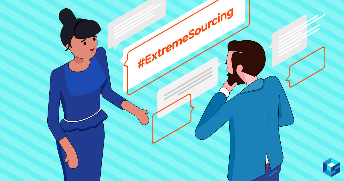 Image of two individuals talking with #extremesourcing behind them. This is part three of the approved vendor list on Sourcengine. Learn more about AVLs here and how they can help with your component procurement needs.