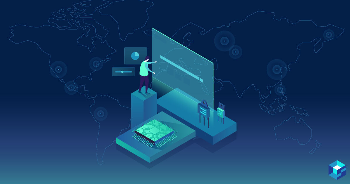 Graphic image of man dressed in white working on a screen atop a microchip; the digitalizing of the supply chain is Sourcengine's specialty; see how its APIs and integration tools can help do this for your company.