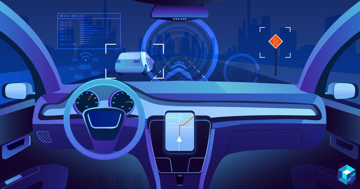 Graphic image of car cockpit. Learn how Texas Instruments (TI) is changing the components industry when it comes to automobiles; only here at Sourcengine.