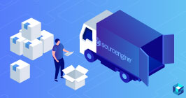 Graphic with worker placing boxes on delivery truck. Sourcengine's deliveries are backed by Sourceability's distribution system.
