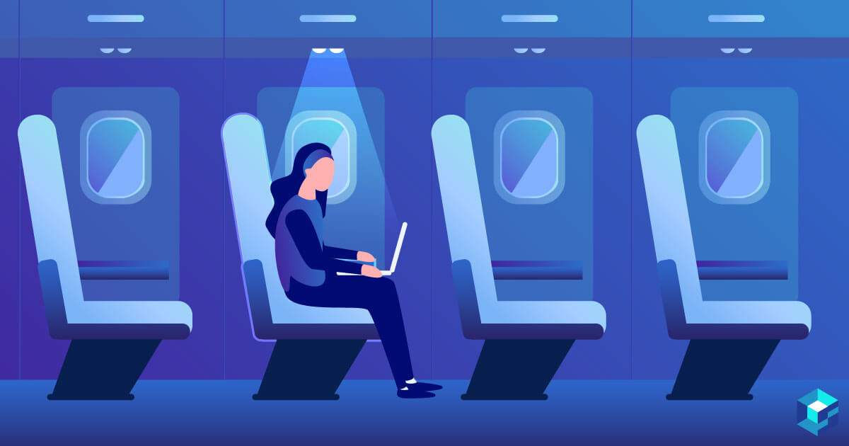 Graphic image of person sitting on airplane working on a laptop. Take a look at Sourcengine's TE Connectivity components for all your sourcing needs.