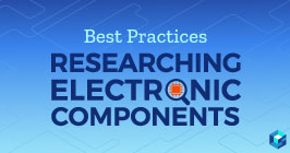 Image with researching electronic components printed on it; learn more about supply chain and procurement options at Sourcengine; upload BOMs and receive alternates on your list of parts.