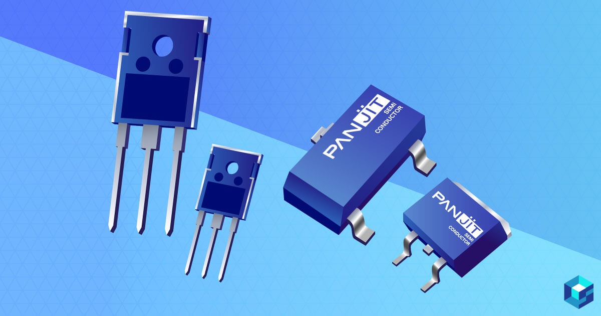 MOSFETs on a blue background. Learn more about MOSFETs and Panjit at Sourcengine.