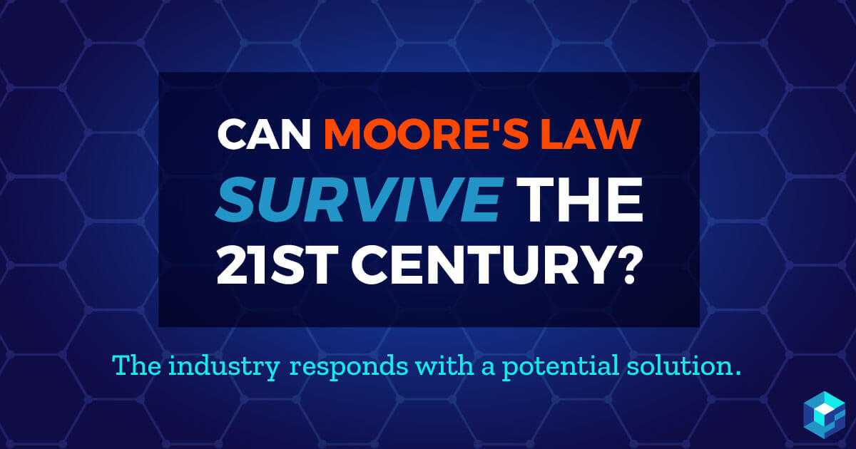 Image with Moore's Law and whether it will survive the 21st century printed on it. Moore's Law is still a center point for components development; learn more at Sourcengine.
