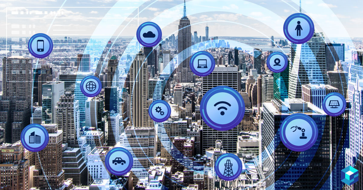 City landscape with icons depicting connectivity all over it. Learn about sensors and their pricing as well as availabilities at Sourcengine.