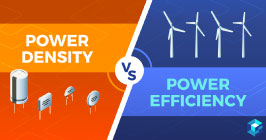 "Graphical image with ""power density vs power efficiency"" written across it. Learn more at Sourcengine."
