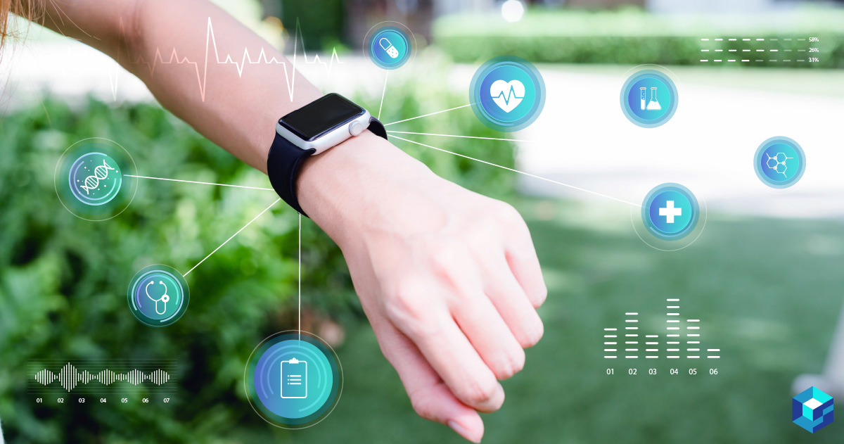 Smartwatch on a person's wrist with icons around it depicting heartbeat and other things the wearable can measure. Take a look at Sourcengine's components for wearables and get started on your NPI today.