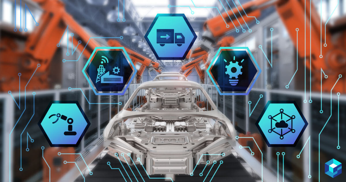 Industrial automation conveyor belt with icons of robotics, trucking and other things around it. Sourcengine carries component for the industrial automation sector. Take a look today.