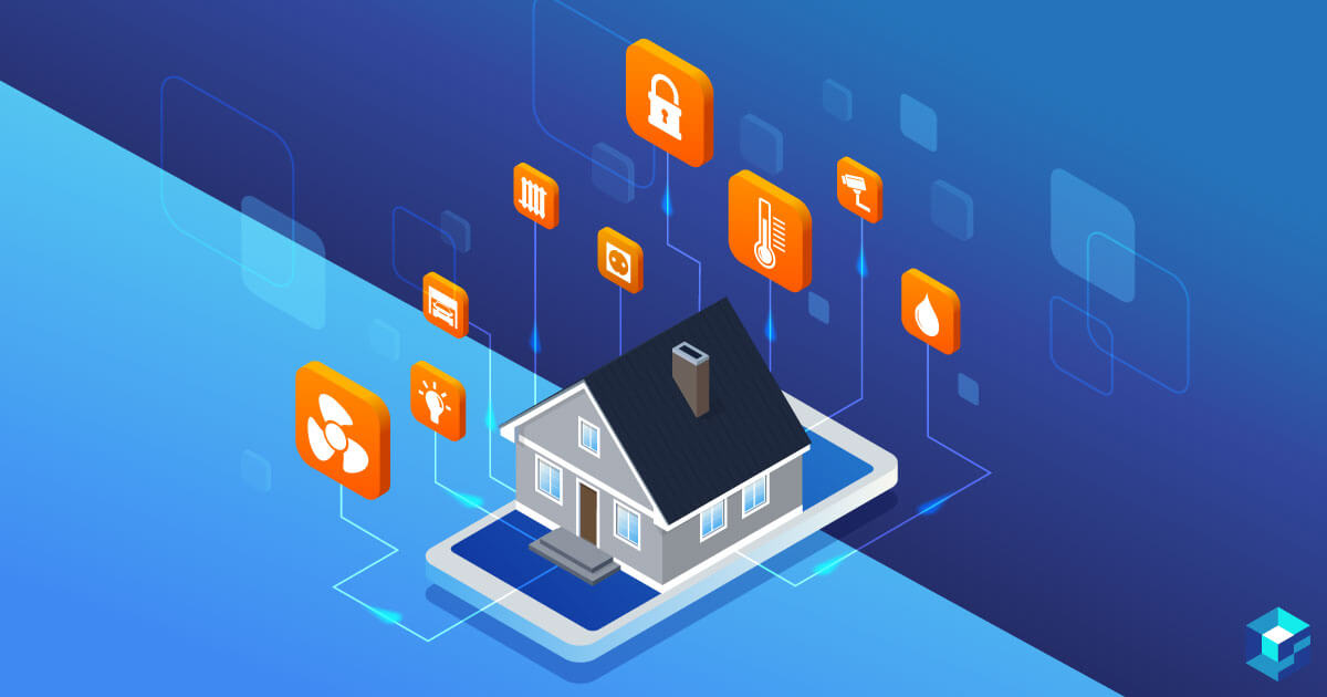 Image of a house surrounded by icons representing temperature, lighting, security, and other things. Learn more about IoT components at Sourcengine.
