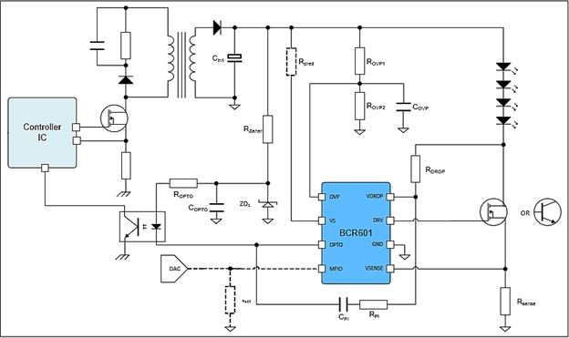 application circuit using the BCR601 driving constant current into a string of LEDs
