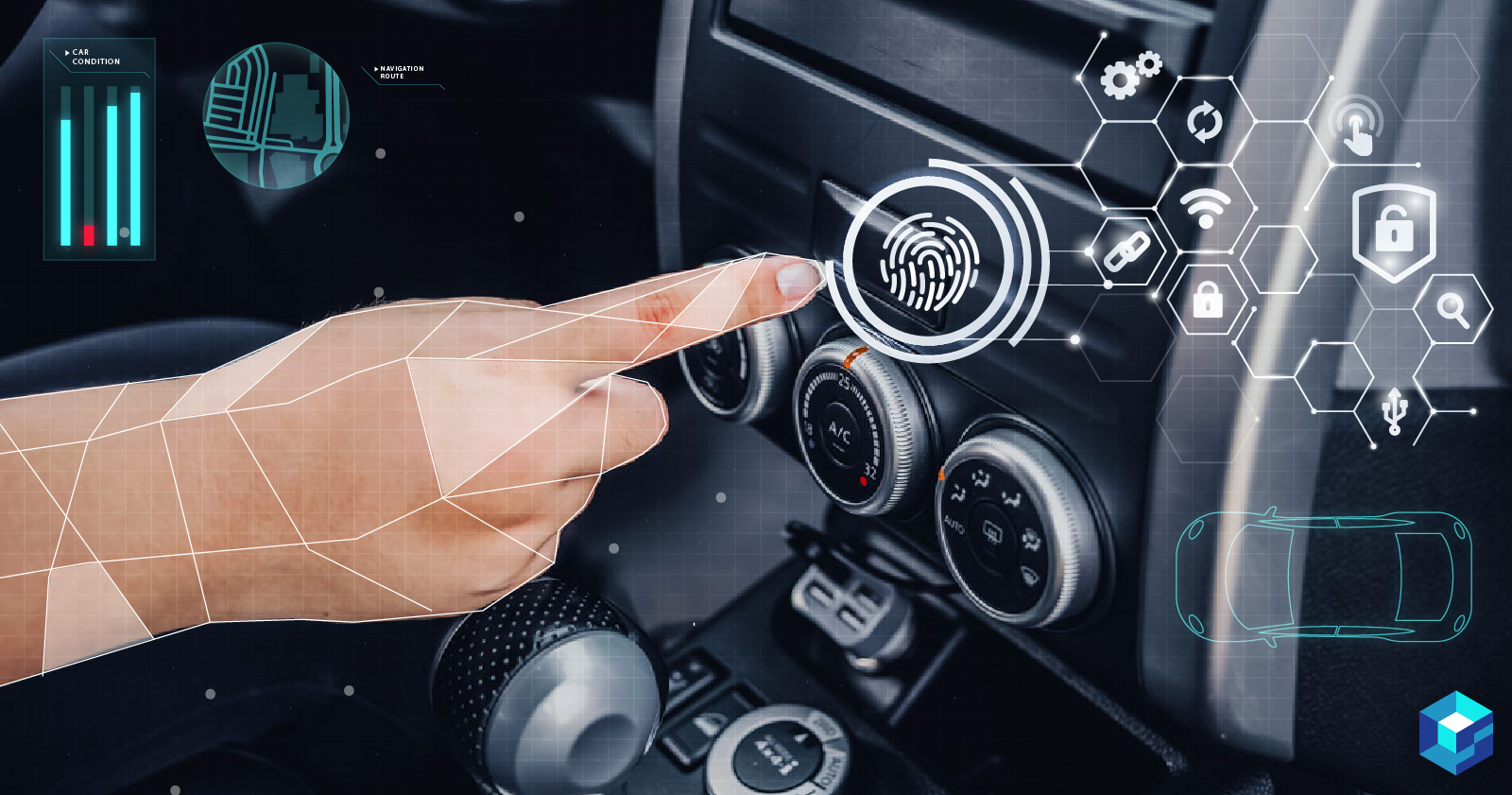 Hand pointing at automobile infotainment system; MIcrochip's tracking and gesture controller is perfect for modern automobile cockpit technology.