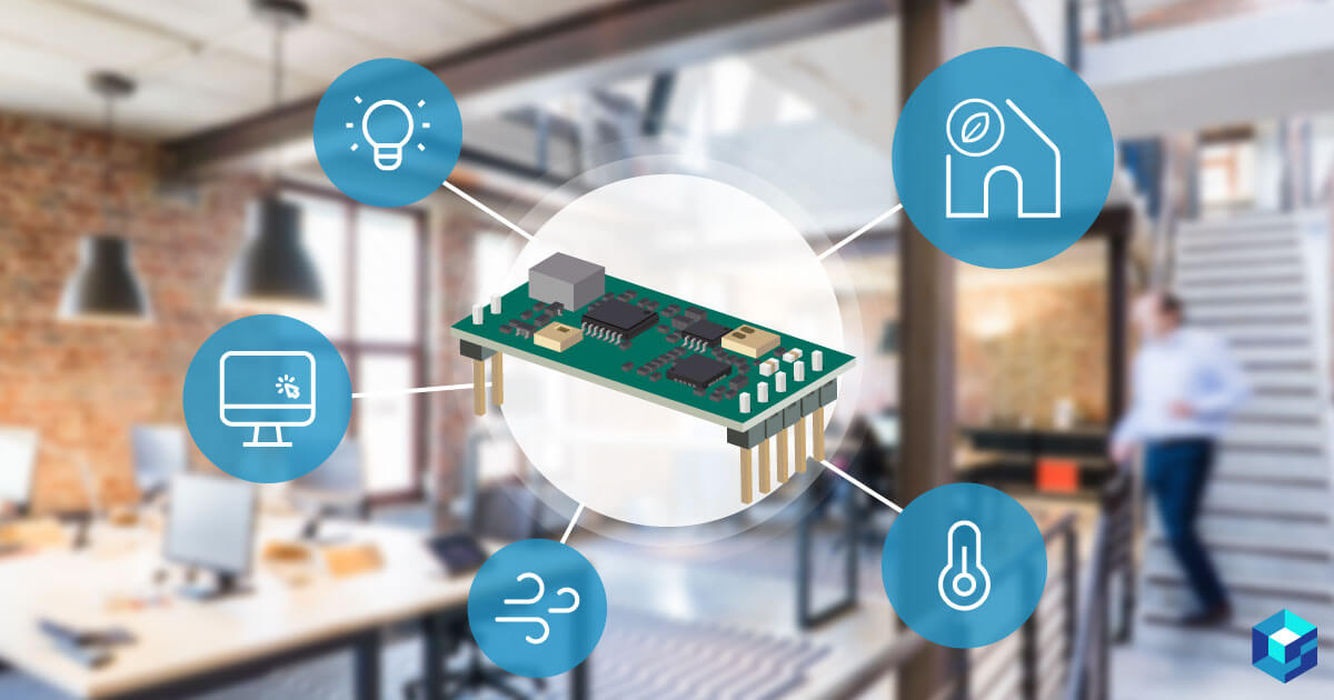 Graphic image of a microchip with an office in the background; find out how these IoT devices are changing the way we work at Sourcengine.