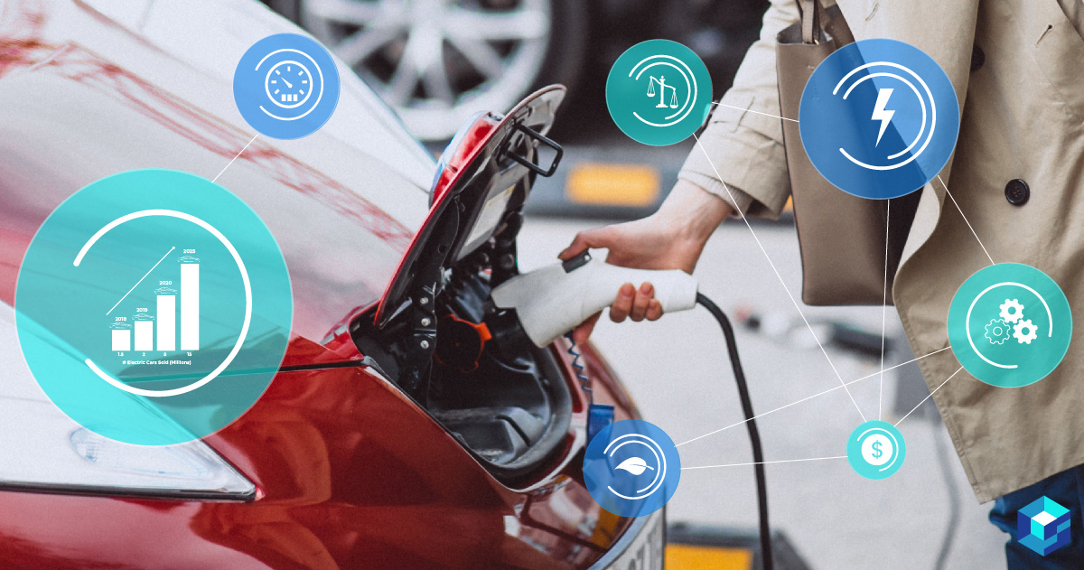 Person plugging an electric car into an energy source. Learn more about EV components at Sourcengine.