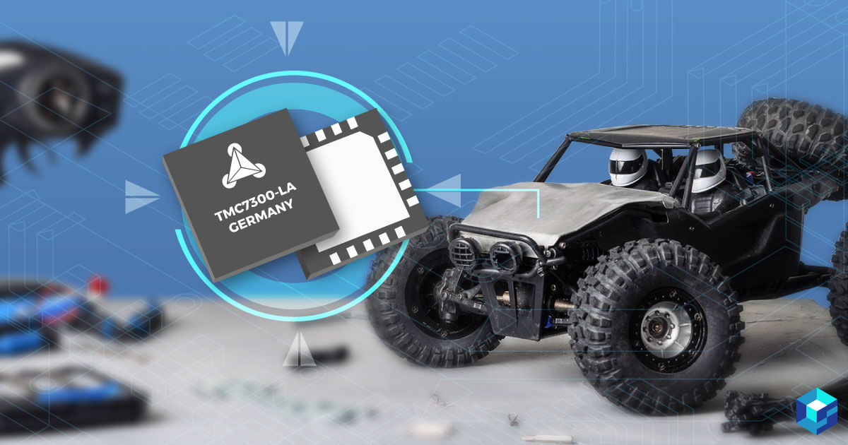Trinamic chip set against a mini radio controlled dune buggy. See more about this chip at Sourcengine, the leading e-commerce marketplace for electronic components.