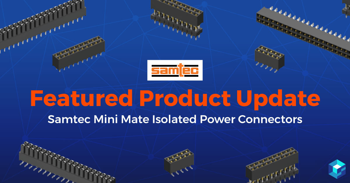 Featured product story with image of Samtec mini mate connector on it. Search Samtec's catalog on Sourcengine.