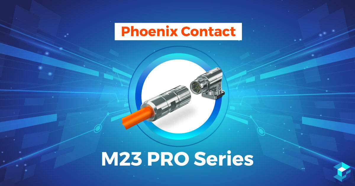Phoenix Contact series graphic with wording printed on it; learn more about this connector and others at Sourcengine.
