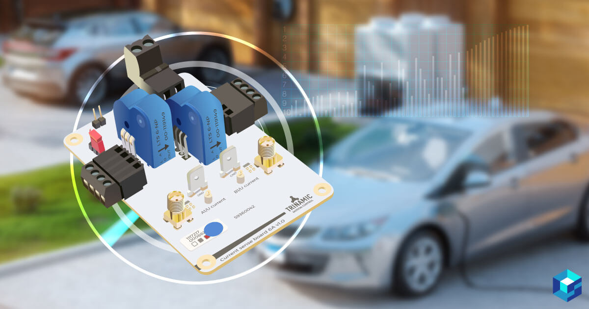 A Trinamic pcb with a car in the background; learn more about this component and its current use in electric motors here at Sourcengine.