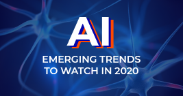 Graphic with AI, Emerging Artificial Intelligence Trends to Watch in 2020 printed on it; learn more about AI and other technology trends at Sourcengine.