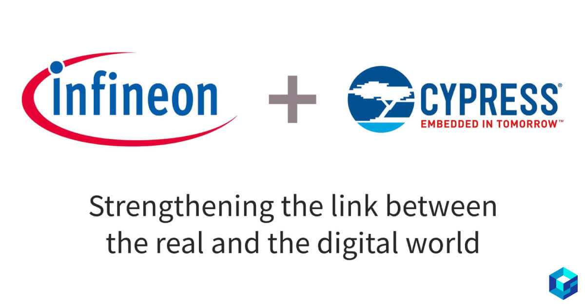 Graphic showing logos for both Cypress Semiconductor and Infineon. Read about Cypress' recent acquisition of Infineon at Sourcengine.
