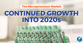 Graphic with microprocessor market trends printed on it. Learn all about industry trends for the components industry at Sourcengine.
