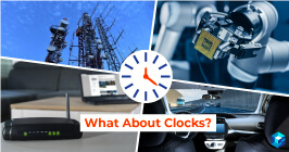Clock superimposed on images of robotic arm, smartphone signal tower, and more. 5G applications and specifically clock applications will be a big draw in 2020; learn more here at Sourcengine.