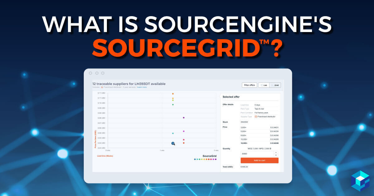 Image with Sourcengine's Source Grid displayed. Use this tool for electronic component buying.