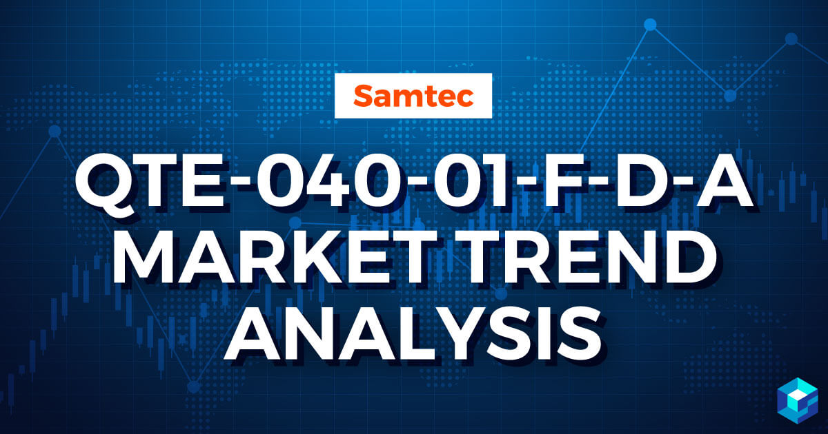 Tile with Samtec's QTE-040-01-F-D Market Trend Analysis displayed on it. Learn more about Sourcengine's lifecycle articles for components.