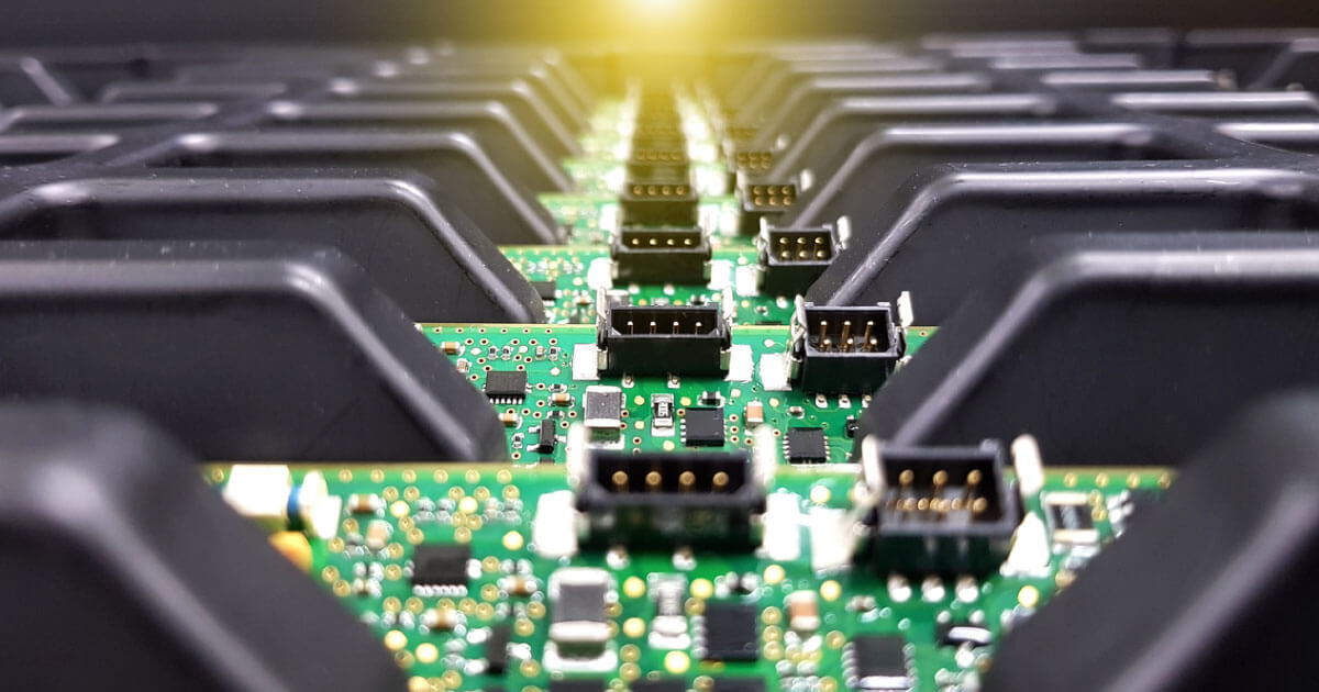 Prefabricated circuit board on display; the coronavirus has effectively accelerated certain areas of the supply chain in the components industry, find out more at Sourcengine.
