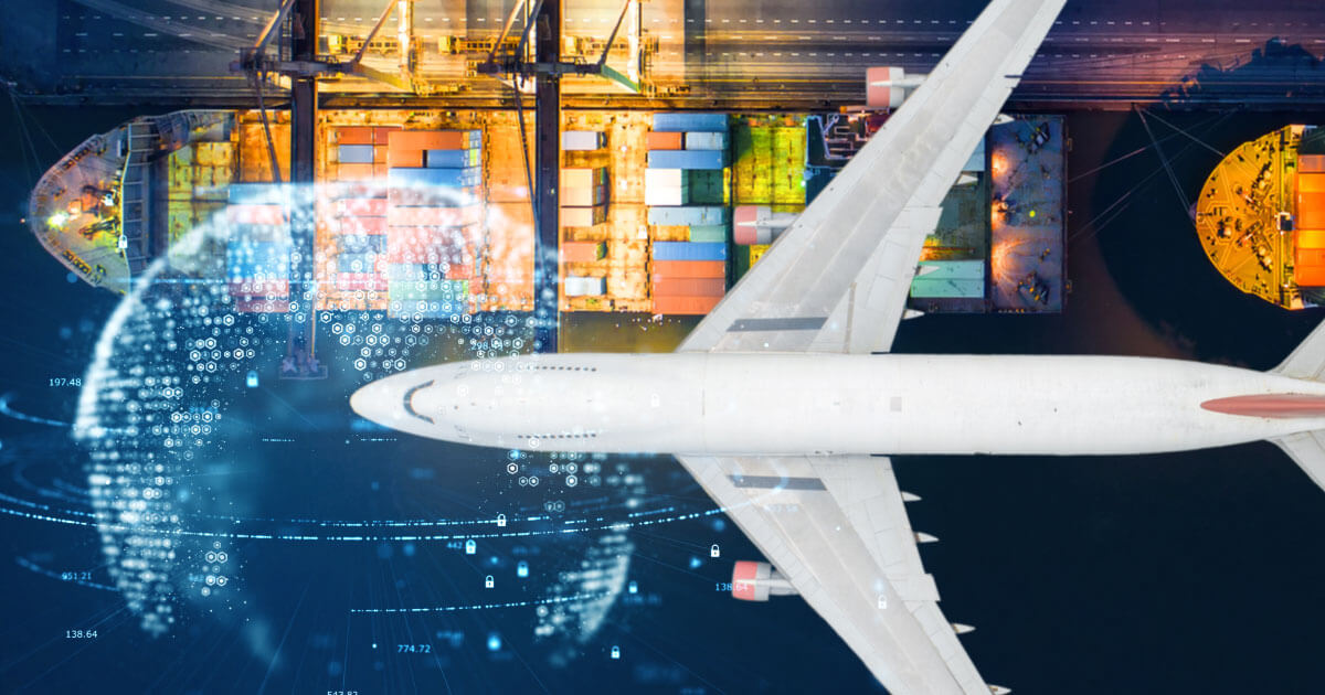 Picture of airplane and cargo liner traveling across globe, meant to depict various supply channels. What will happen as companies reshore in the electronic components industry? Find out at Sourcengine.