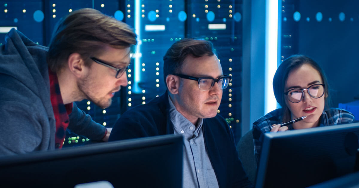 3 analysts work on remote managing an IoT device via Teltonika hardware. To learn more about this franchise partner, see Sourcengine's e-commerce marketplace.