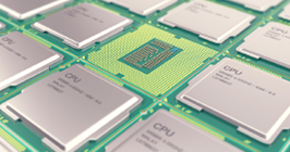 Component chips lined up on display; take a look at the driving factors that will shape the semiconductor industry in 2021 here at Sourcengine.