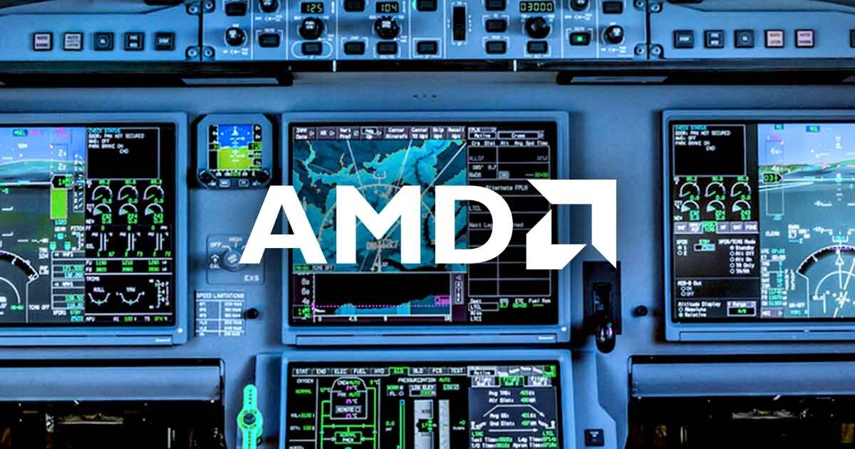 AMD logo superimposed on a cockpit control system; take a look at Sourcengine for breaking news in the component industry.