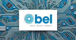 Bel Fuse logo superimposed over a microchip; Bel has acquired rms Connectors and EOS Power India. For the latest semiconductor industry news, follow Sourcengine today.