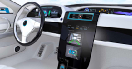 Digital automotive cockpit on display; these infotainment systems will be a big draw in 2021 and will also contribute to the ongoing component shortage felt industry-wide; search Sourcengine for your component, shortage, and alternate needs.