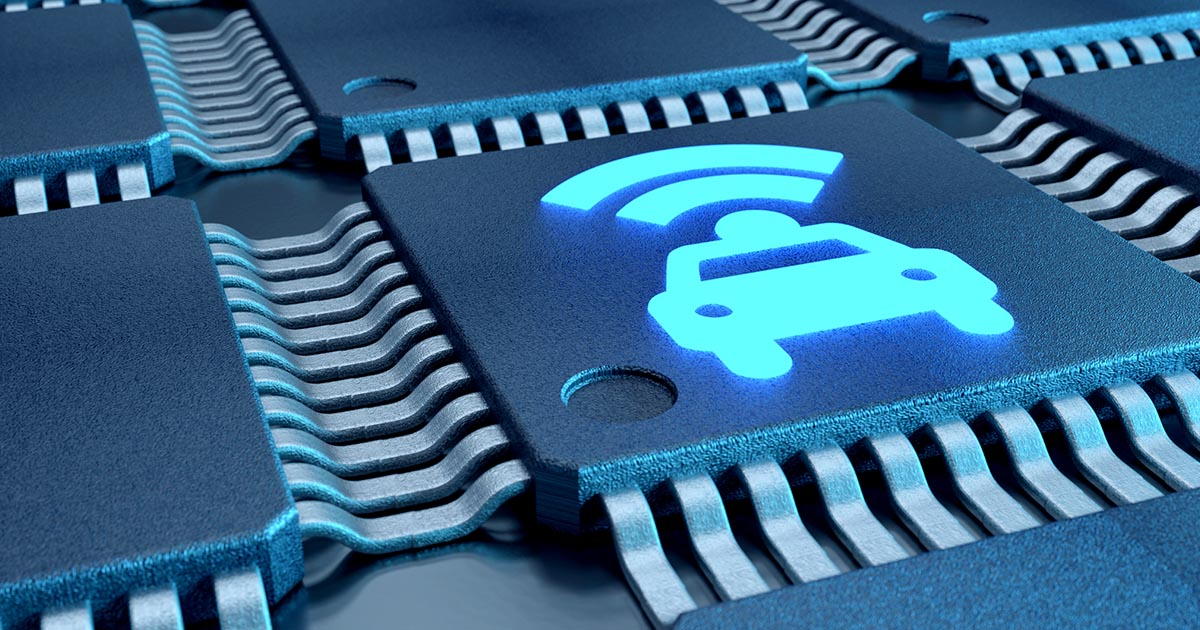 Microchip with a car icon superimposed on it; Renesas has increased production on automotive chips to help alleviate the global component shortage.