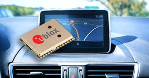 u-blox logo on a computer chip laying on a gps system. u-blox's components are available with short lead times here at sourcengine.com.