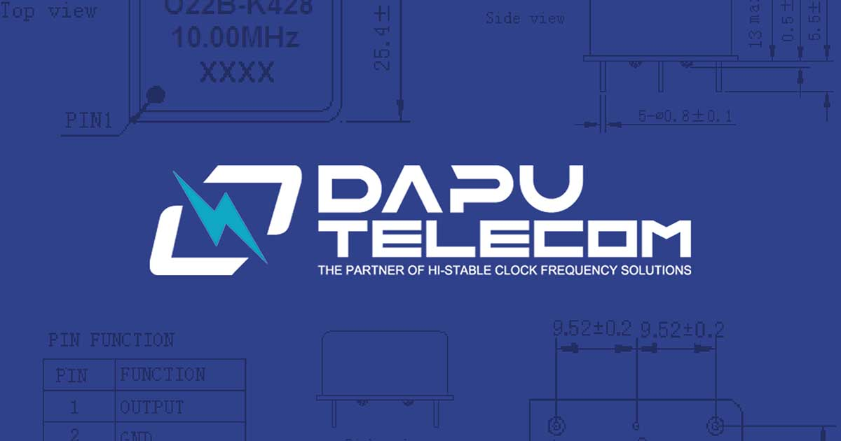 Dapu Telecom logo on display; Dapu is a franchise line on Sourcengine and provides great availabilities and lead times for purchasers buying oscillator components.