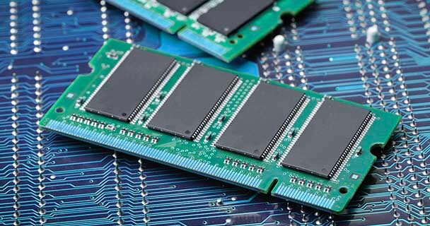 DRAM chip pictured; due to the chip shortage, DRAM prices are soaring. To spot source today, check out sourcengine.com.