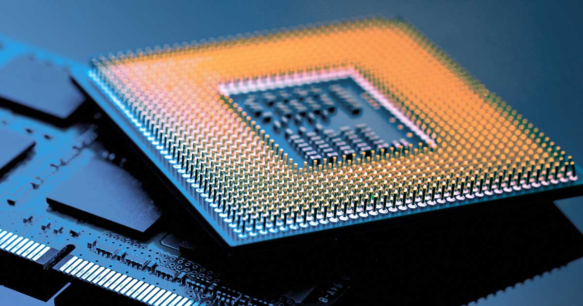 A microchip; Intel's CEO predicts the chip shortage will run into 2022. As a professional buyer, how will you prepare? Try using sourcengine.com's unique e-commerce marketplace to better navigate the shortage.