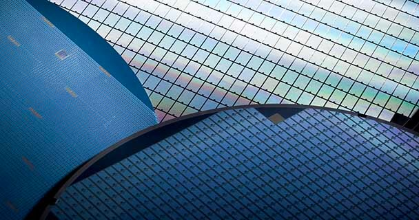 A stack of silicon wafers. Sourceability provides access to fully traceable electronic components from over 3000 suppliers.