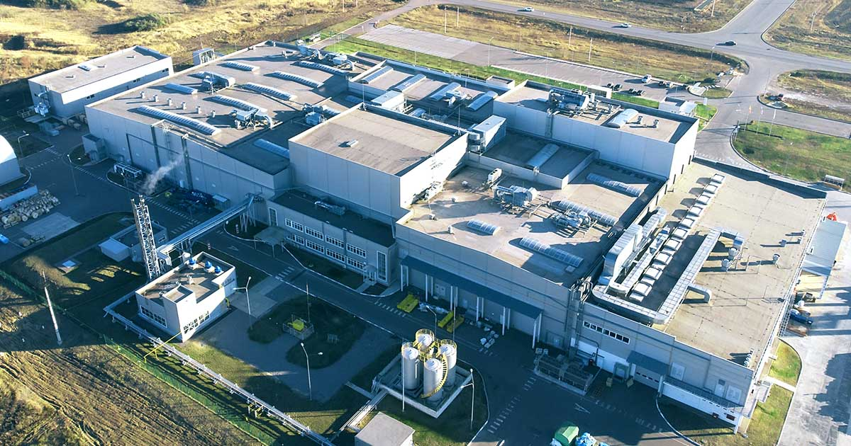 An aerial view of a contemporary factory. Sourcengine offers a three-year guarantee on all components purchased through its marketplace