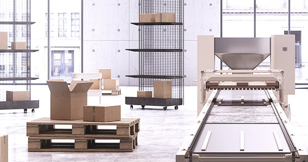 The interior of a contemporary warehouse with empty boxes and no human personnel   Sourcengine